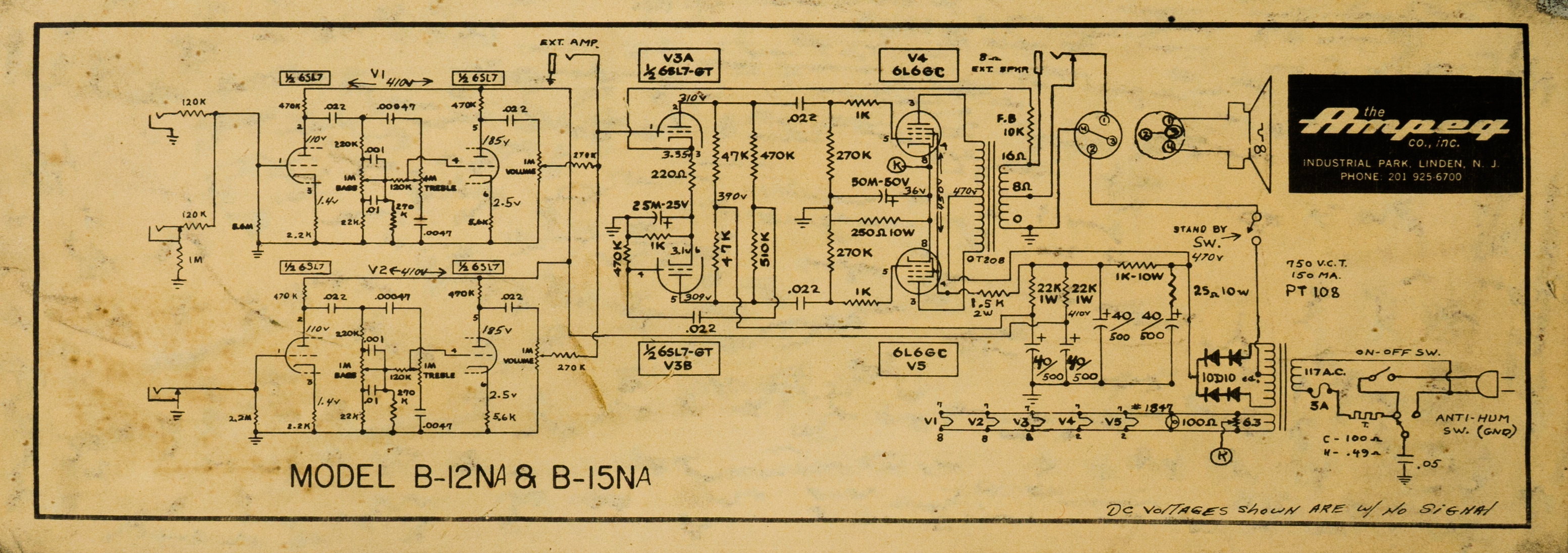 A schematic of my Ampeg B-15-NA (1963)